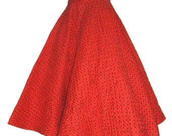 Vintage FULL CIRCLE Quilted Skirt in Lipstick Red / Rooster Print / Novelty Print Fabric / Weathervane / Sock Hop / Rockabilly / 24 Waist