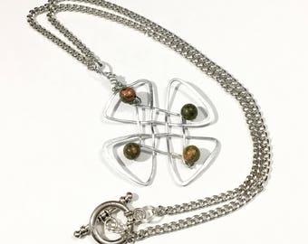 Celtic Cross Necklace, Celtic Knot Necklace, Celtic Jewelry, Jasper Necklace, Jasper Jewelry, Green Necklace