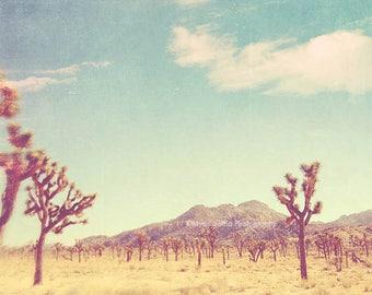 large wall art, Joshua Tree, poster, desert, retro blue, yellow, landscape photography, travel photo, southwest decor, California
