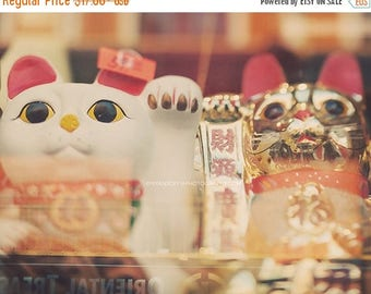 SALE Chinatown photo, San Francisco, lucky cat, chinese asian decor, good luck, fortune, gold white red, happiness, kitties, Chinese New yea