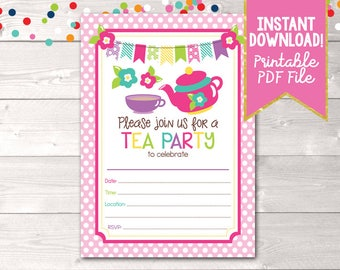 Printable Girls Tea Party Birthday Invitation Teapot Colorful Stripes Bunting and Flower Graphics Instant Download PDF