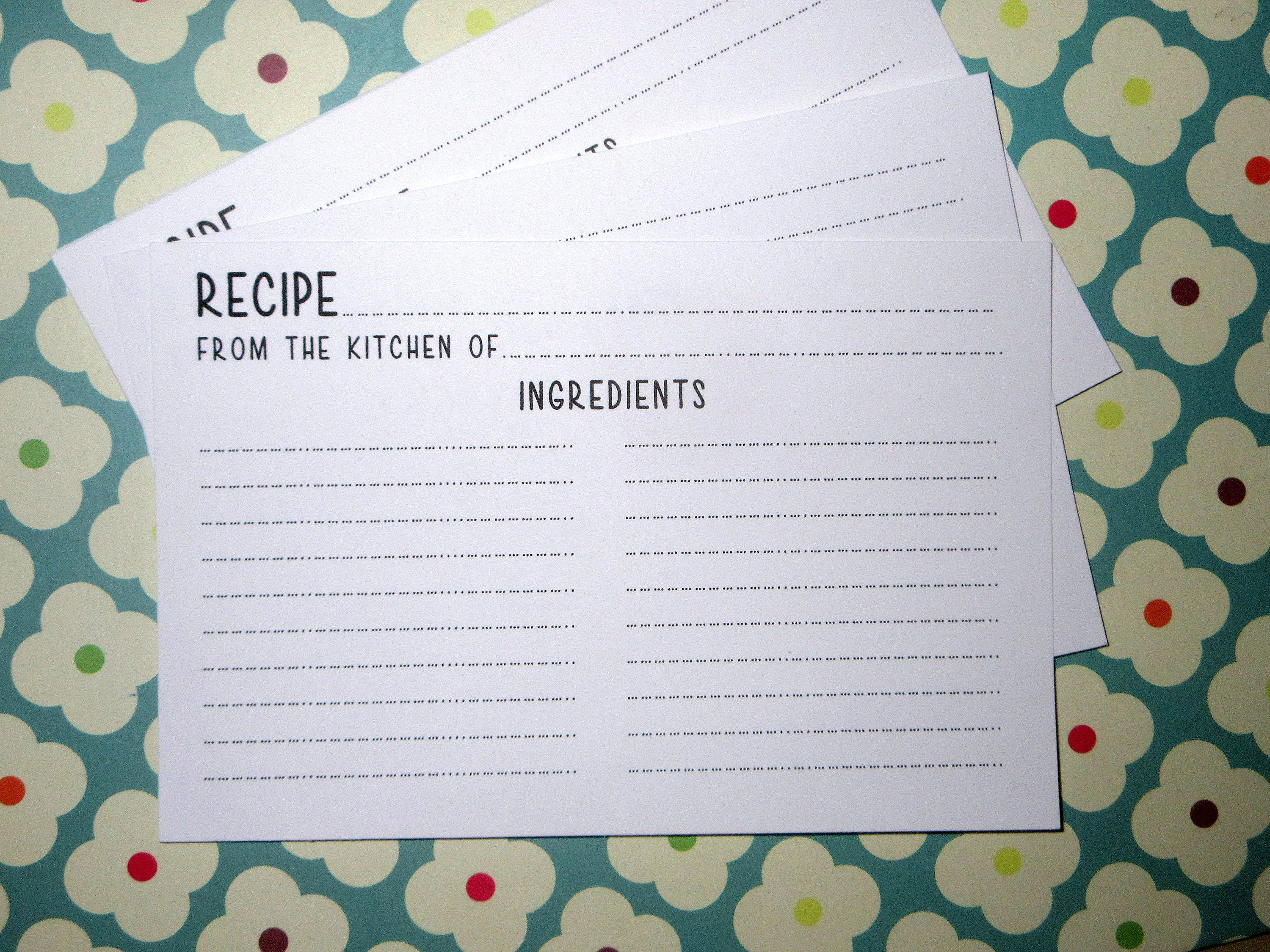 It's just a photo of Dashing Cute Recipe Cards