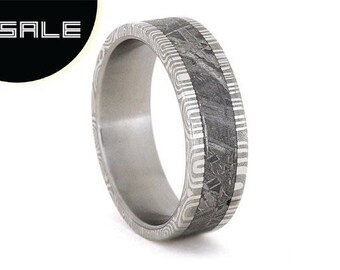 SALE - Damascus Ring with Meteorite Inlay over Stainless Steel Sleeve, Personalized Custom Band