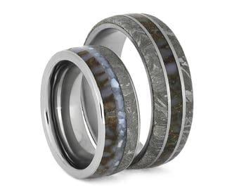 Meteorite Wedding Band Set With Matching Dinosaur Bone, Titanium Ring Set