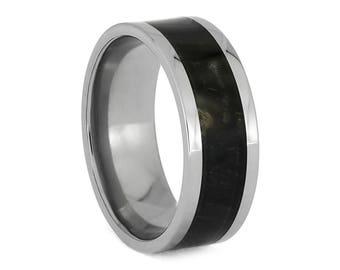 Springbok Horn Ring In Polished Titanium, Hunter's Wedding Band, Trophy Ring