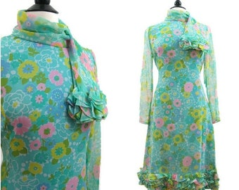 REDUCED 60s Dress Vintage Scarf Neck Ruffled Rayon Chiffon Cocktail Party M