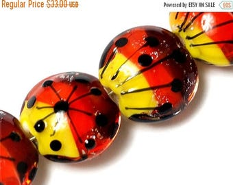 ON SALE 35% OFF Four Sunset Rainbow Lentil Beads -10706912 - Handmade Glass Lampwork Bead