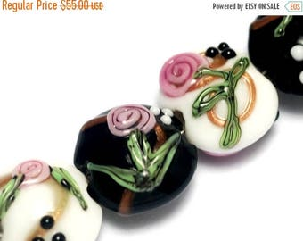 ON SALE 35% OFF Seven Black & White w/Pink Flower Lentil Beads - Lampwork Glass Bead Sets 10107502