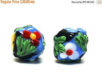 ON SALE 30% off Glass Lampwork Bead Sets - Five Multiple Color Bicone Beads  - 11002307