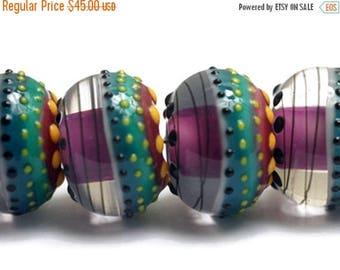 ON SALE 30% off NEW! 11009021 Six Rio de Janeiro Gloss Rondelle Beads - Handmade Glass Lampwork Beads