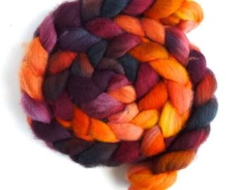 Falkland Wool Roving - Hand Dyed Spinning or Felting Fiber Fiber, Sloss Furnace, 4 ounces