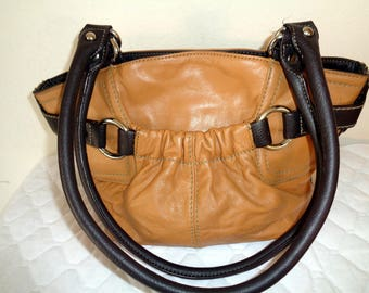Tignanello SMALLER SIZE thick buttery soft  camel tan brown genuine leather  hobo,  tote ,city bag, work bag vintage 90s excellent