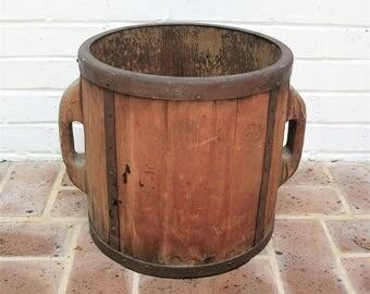 Antique Vintage Wooden Bucket Wood Handles Antique Vintage Farm Bucket Antique Vintage Primitive Bucket