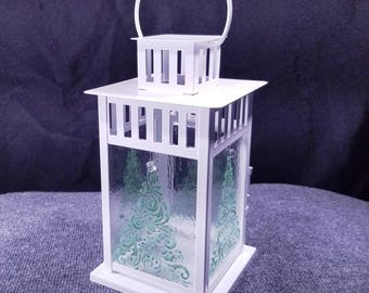 Christmas Candle Lantern - indoor/outdoor - 8x11""
