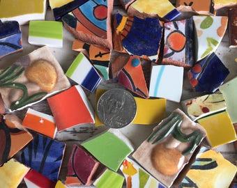 Mosaic Tiles Mixed Lot Bright Terra Cotta Hand Cut Broken China 150 Pieces Blue Green Yellow