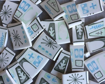 Broken China Tile Cathay Blue and Green Leaf Vintage Dishes