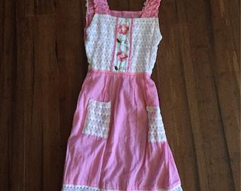 Handmade Vintage Dress, Embroidered Pink Dress, Bohemian Vintage Sundress, boho vintage pink sundress, sleeveless embroidered boho dress S