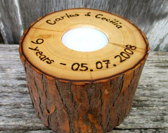 Anniversary Flip Candle of Rustic Willow Wood