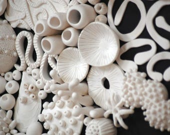 Coral Reef Wall Sculpture - Large 3D Coral Wall Installation Nautical Ocean Framed Large Wall Art Clay Mural