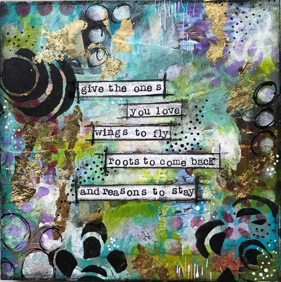 Original Painting Mixed Media Wooden Panel Colorful Positive Quote Wall Art