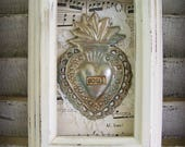 Altered Framed Mexican Milagros Vintage Tin Milagros Framed Sacred Heart Vintage Style Altered Art Shabby White Decor Flaming Heart Collage