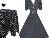Vintage 80s 50s Black White Polka Dot Swing Dress S M  Short Sleeve Rockabilly Pinup 40s Style Bombshell Dance Prom Party Belt Shirtdress