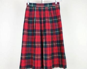 ON SALE Vintage Red Plaid Pleated Midi Skirt S
