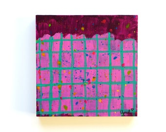 "Geometric Paint Splatter Art Original Acrylic Purple Painting on Wood Aqua Grid Colorful Modern Small Wall Art Purple Abstract Art 6""x6"""