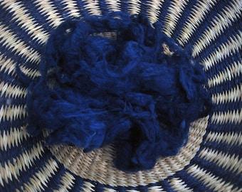Silk Noil Hand Dyed 'Midnight Blue'  Silk Noil Very Dark Blue Spinning Fiber Needle Felt Fiber 1/4-oz. Paper Making Ingredient Hand Dyed