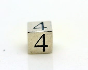 Sterling Silver Number 4 Cube Square Bead 5.5mm Large Hole