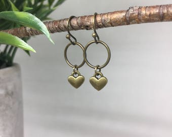 Brass Dangle Earrings- Gift for her- Gift for girlfriend- Gift for wife- Valentines Day Gift