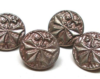 "1800s Antique BUTTONs, 4 Victorian holly leaves in silver 7/16""."
