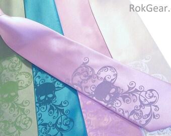 Mens skull necktie custom colors print to order RokGear original design
