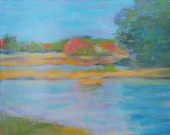 acrylic landscape painting, original art, small plein air painting - Colorful Autumn Stillness - by Irene Stapleford - wantknot shop