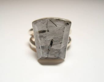 RESERVED for Amanda B - Tourmalinated Quartz Gemstone and Sterling Silver Ring Size 8 and 1/2