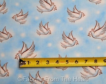 Doves of Peace Christian Love Our Father on Blues BY YARDS QT Cotton Fabric