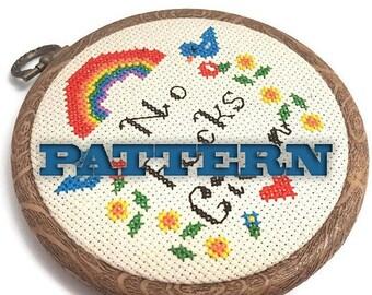 PDF Cross Stitch Pattern No Fucks Given-Adult Cross Stitch-Mature Mantra-DIY Hoop Art-Wall Art-Office Decor-Gifts for Men-Gag Gift-Mancave