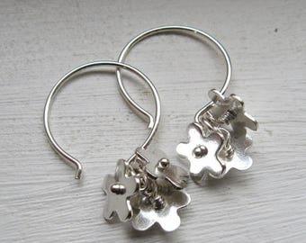 GLORY FLOWER EARRINGS, dangle cluster sterling silver flower earrings