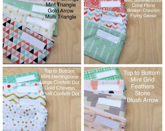 Zipped Cash Envelopes - Coral, Mint and Gold - US Dollar Bill or Change Purse -Just the Envelopes