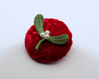 Mistletoe pin or brooch, romantic winter party jewellery, machine embroidery on dissolvable fabric, velvet