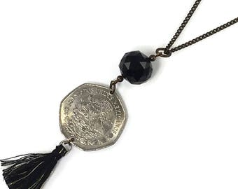 Mexican coin on long chain layering necklace with black glass bead accents and black tassel, Coin Necklace, Foreign Coin Jewelry