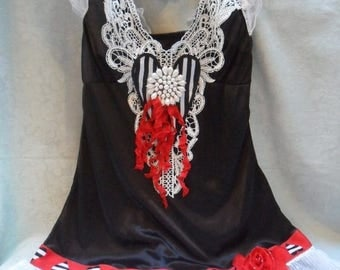 36% OFF Closet Cleaning TUNIC Tank Cami Valentines Day Altered Clothing - Vintage Cami Make Over - Black, White & Red