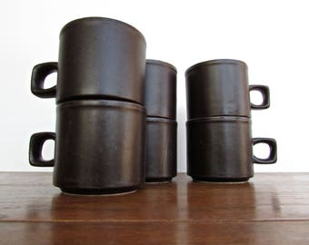 Doverstone Heather Cups - Staffordshire England - Chocolate Brown, Set of 6 Vintage Tea Cups / Coffee Mugs
