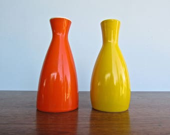 Duo of Vintage Orange and Yellow Porcelain Sake Bottles, Modern Design Japan