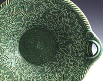 Handmade Stoneware Pottery Basket Bowl Carved Green Oak Leaf Bowl
