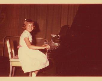 Original Vintage Color Kodacolor Photograph Snapshot Girl Sitting at Piano 1964