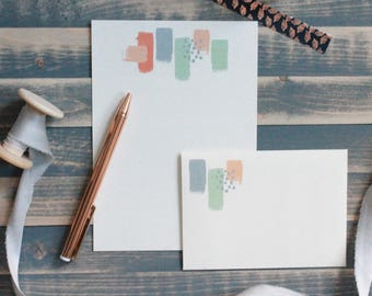 Orange, Sage and Gray Painted Letter Writing Set | Writing Paper | Stationery Gift Set | Gift for Her | Stocking Stuffer | Snail Mail