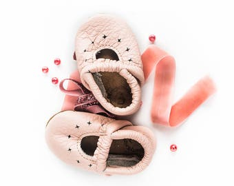 Rose Blush STARRY JANES  Soft Soled Leather Shoes Baby and Toddler//Free Shipping in USA// Starry Knight Design