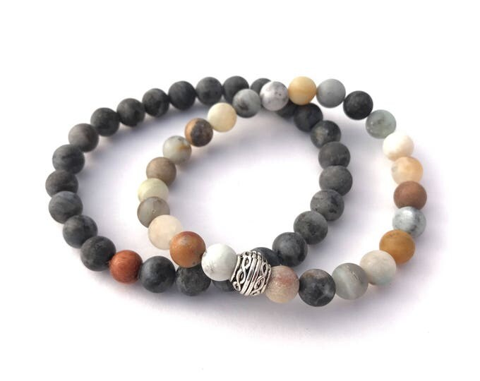 mens gemstone beaded mala bracelet