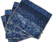 Quilted Placemats in Indigo Blue Batiks (set of 4)